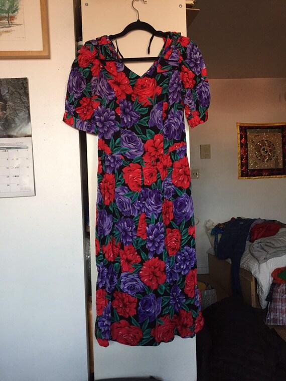 Lanz 1980s Molly Ringwald black floral dress puff