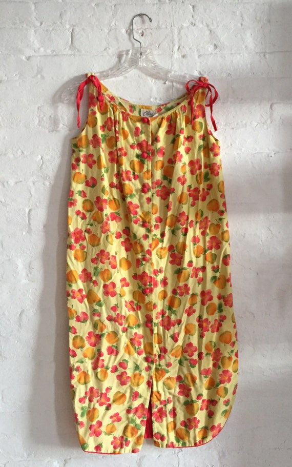 Vintage smock cotton Yellow mini-dress beach cover
