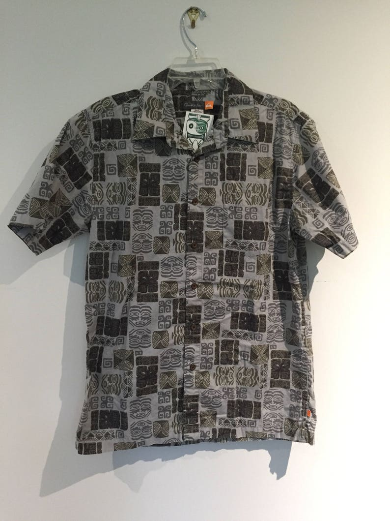 849a4a95 Vintage Aloha Tiki Hawaiian shirt M Medium quicksilver Soft | Etsy
