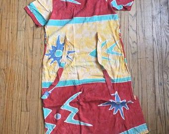 Vintage Aloha Rayon Hawaiian Hippie Dress Sun Moon Kokopelli style with ties M