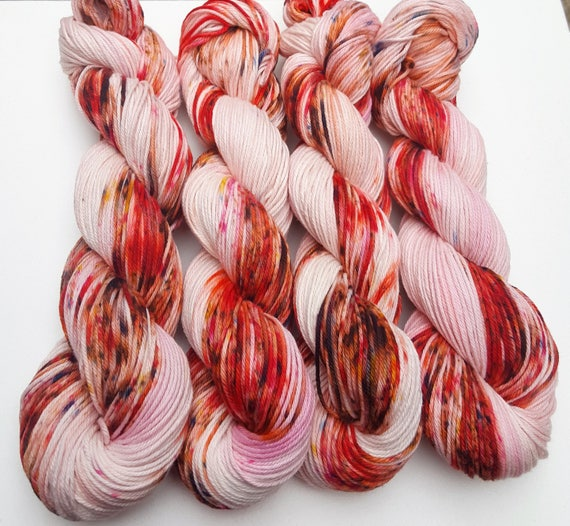Snap Dragons- 100 Cotton, Hand Dyed, Variegated, Speckled, Hand Painted Yarn