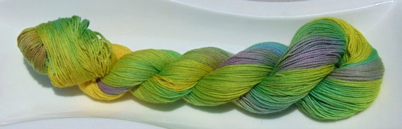 Cactus Blooms- 100 Organic Cotton, Hand Dyed Lace Weight Variegated Yarn