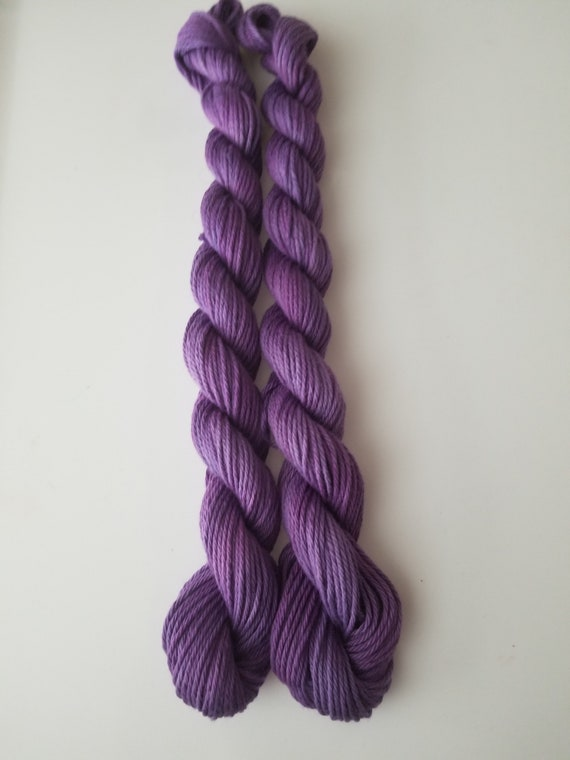 Royalty- 100% Organic Cotton, Hand Dyed. Fingering Weight, Hand Painted solid colorway