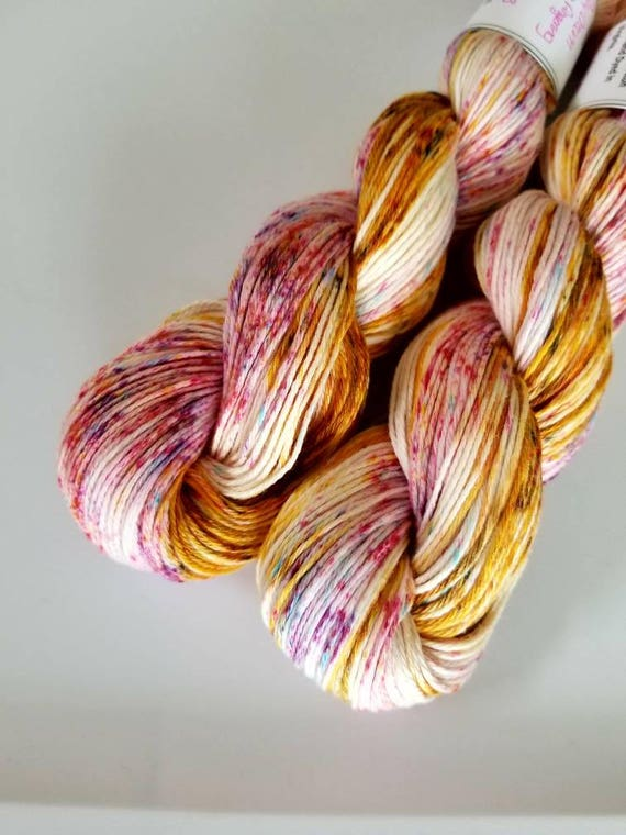 Day Dreams- 100 Cotton, Hand Dyed, Variegated, Speckled, Hand Painted Yarn