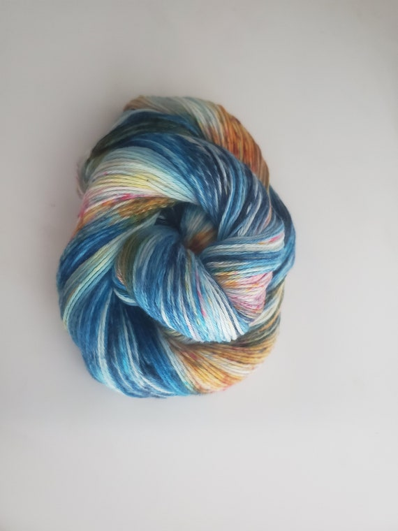 Oasis- 100% Organic Cotton, Hand Dyed, Fingering Weight, Speckles, Sock Weight Yarn