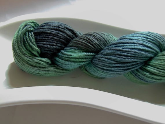 Dew On the Grass- Storm Warning Collection 100 Organic Cotton Hand Dyed Sport Weight Hand Painted Yarn