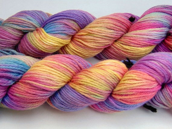 Double Rainbow-Storm Warning Collection 100 Organic Cotton, Hand dyed Sport Weight Hand Painted yarn