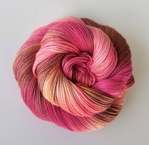 Bed of Roses- 100% Organic Cotton, Hand Dyed, Sport Weight, Hand Painted, Variegated Yarn