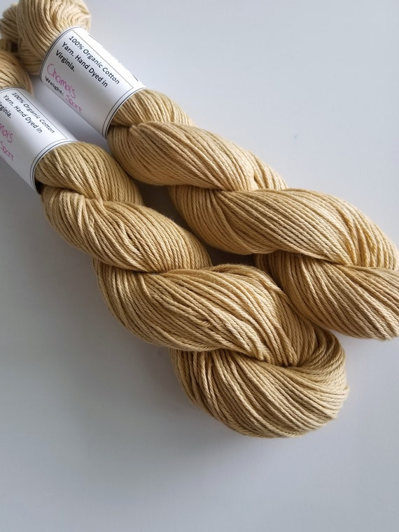 Chamois- 100% Organic Cotton, Hand Dyed, Solid Colorway, Sport Weight, Hand Painted Yarn