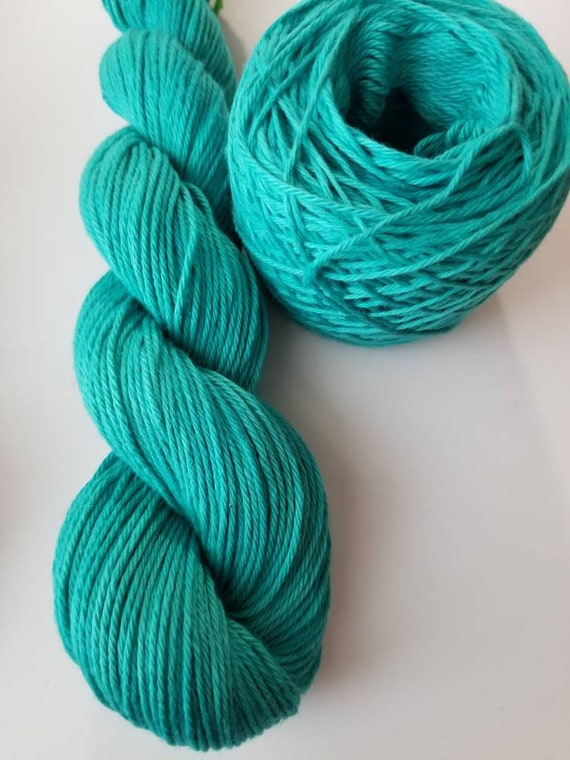 Nymph- 100% Organic Cotton, Hand Dyed, Solid Colorway, Hand Painted Yarn