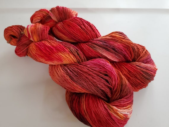 Red Dragon- 100% Organic Cotton, Hand Dyed, Hand Painted, Speckled, Worsted Weight