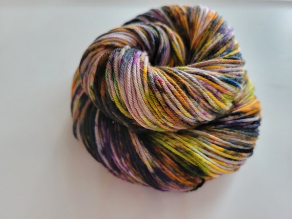 Spooktacular- 100% Organic Cotton, Hand Dyed, Speckled, Halloween, Variegated, Sport Weight, Hand Painted