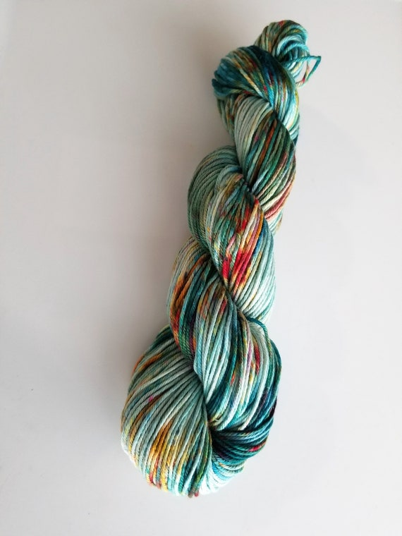 Merman- 100% Organic Cotton, Hand Dyed, Worsted Weight, Speckled Yarn