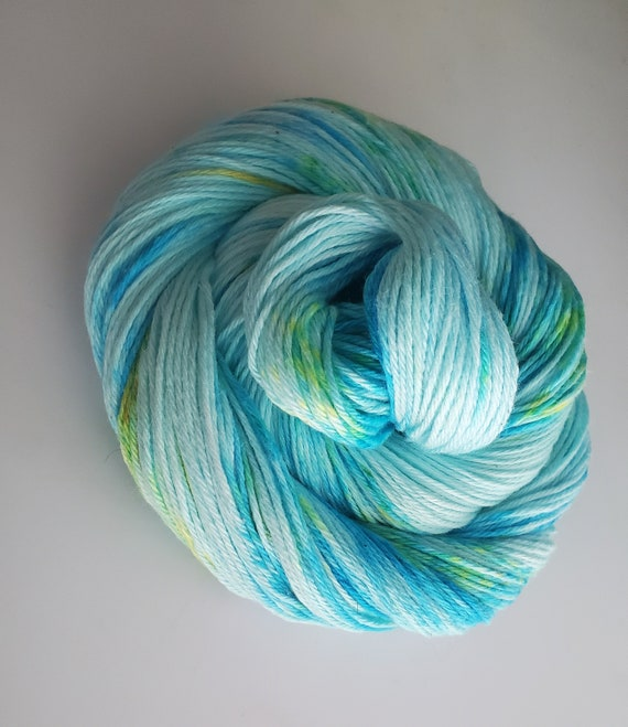 Water Lily- 100% Organic Cotton, Hand Dyed, Speckled, Sport Weight,