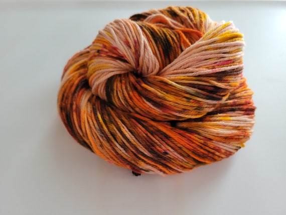 Rotten Pumpkin- 100% Organic Cotton, Hand Dyed, Speckles, Hand Painted, Vegan Friendly, Worsted Weight