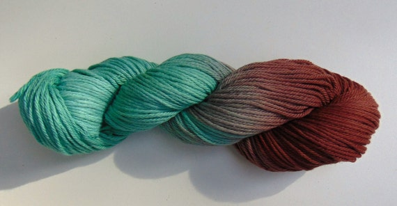 Peppermint Hot Chocolate- 100 Organic Cotton, Hand Dyed, Worsted Weight Variegated