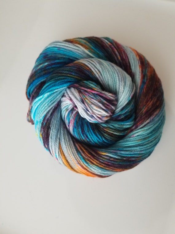 Teal the Cows Come Home- 100% Organic Cotton, Hand Dyed, Worsted Weight, Speckled Yarn