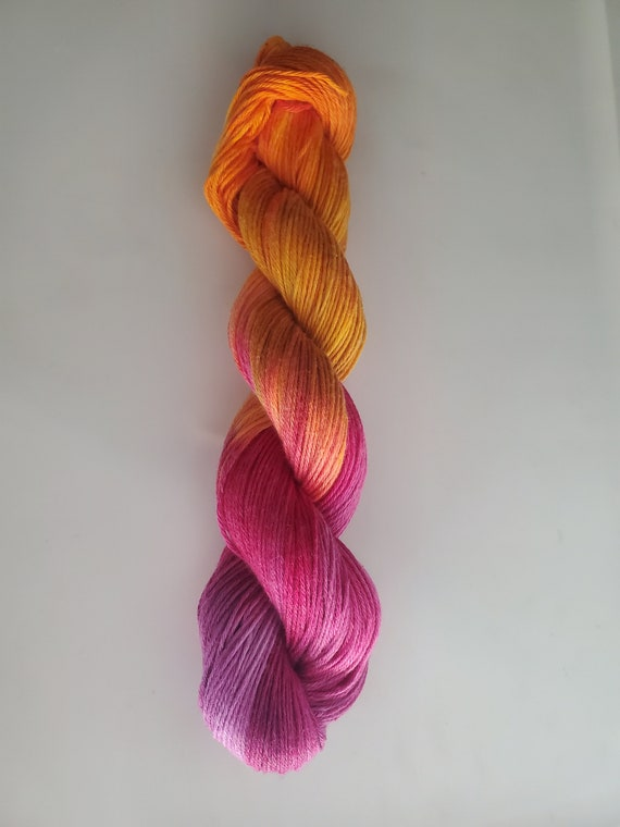 Pumpkin Hunting- 100% Organic Cotton Yarn, Hand Dyed, Sport Weight, Ombre, Hand Painted