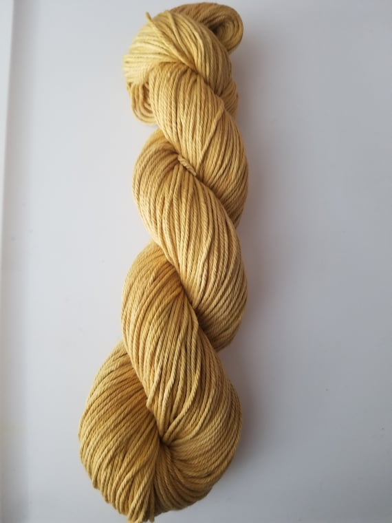 Amber- 100% Organic Cotton, Hand Dyed, Worsted Weight, Hand Painted Solid Colorway