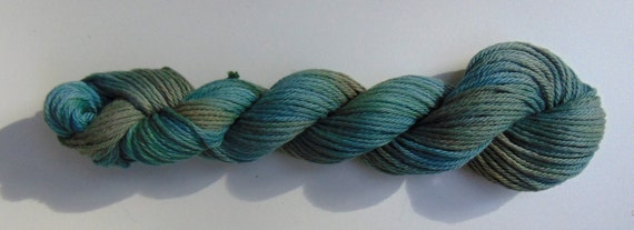 Blue Fir- 100 organic Cotton, Hand Dyed, Bulky Weight Variegated Colorway