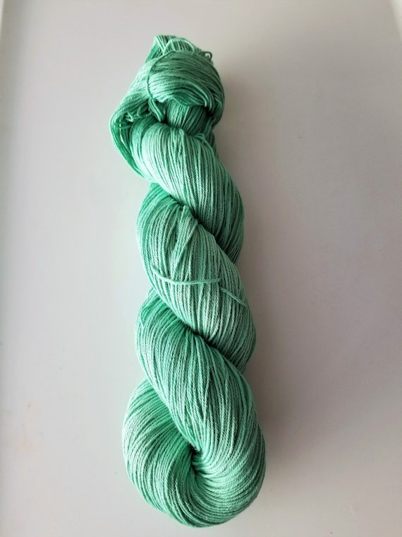 Sea Foam- 100% Organic Cotton, Hand Dyed, Worsted Weight, Solid, Hand Painted Colorway