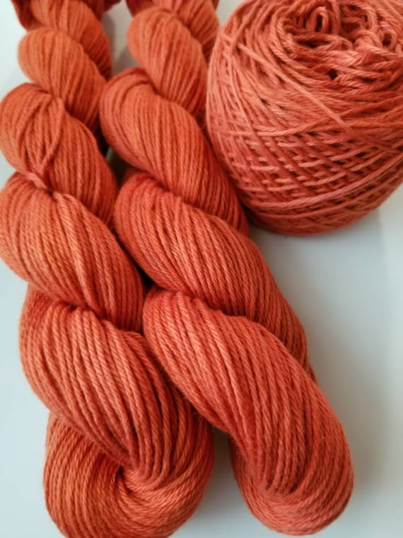 Rust- 100% cotton, Hand Dyed, Hand Painted, Solid Colorway, Yarn