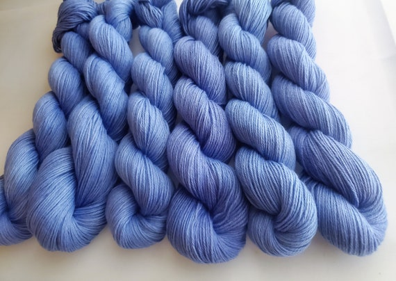 Periwinkle- 100% Organic Cotton, Hand Dyed, Fingering Weight, Hand Painted