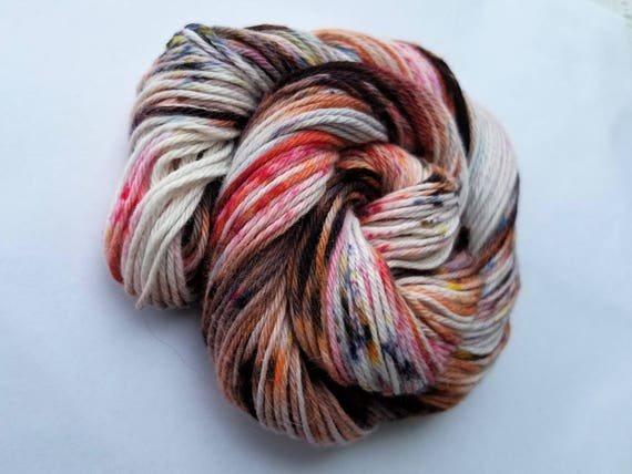 Koi- 100 Organic Cotton, Hand Dyed, Hand Painted, Speckled Sport Weight Yarn