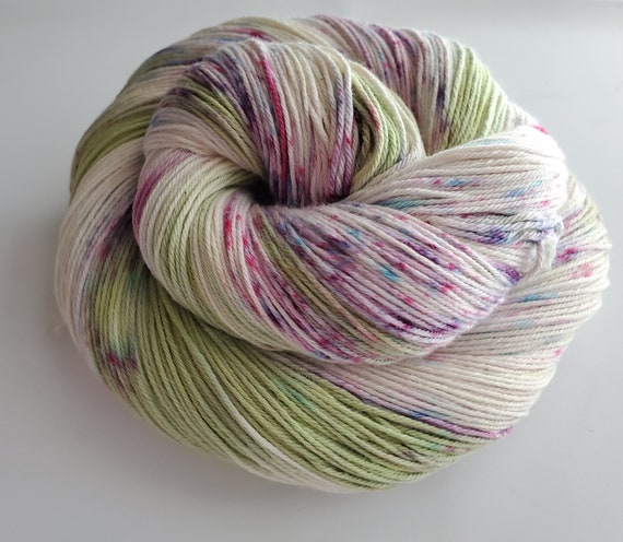 Lilac Bush- 100% Cotton Yarn, Hand Dyed, Worsted Weight, Speckled, Hand Painted Yarn