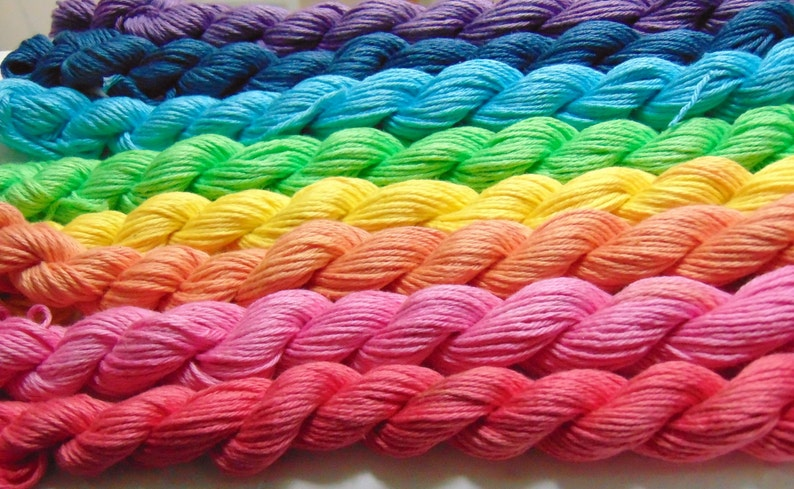 Fingering Weight Hand Painted Yarn Hand Dyed 100 Organic Cotton Taste The Rainbow