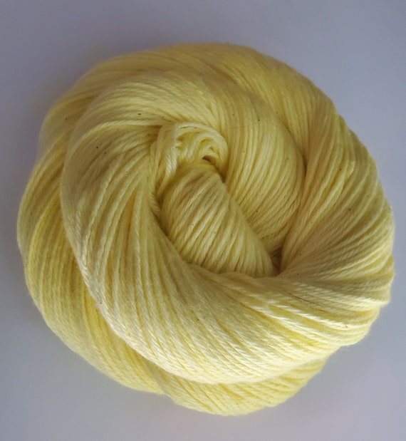 Lemon Drops- 100% Cotton Yarn, Solid Colorway, Fingering Weight, Hand Painted