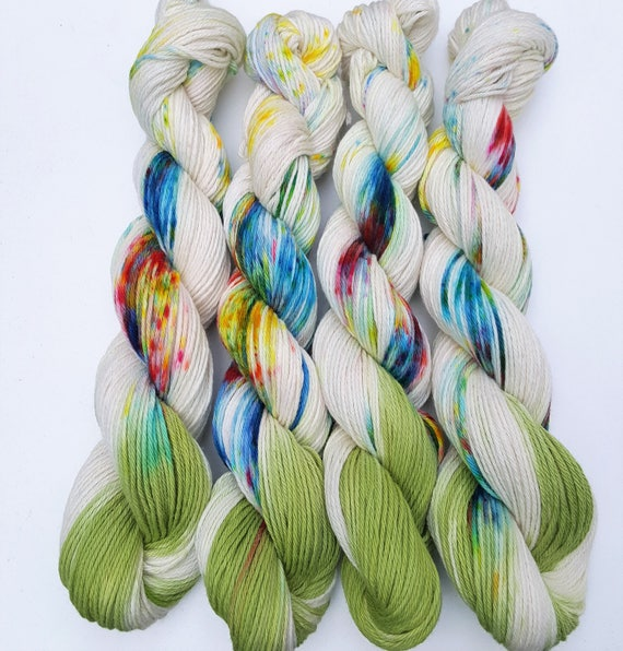 Wildflowers- 100 Cotton, Hand Dyed, Speckled, Variegated, Hand  Painted Yarn