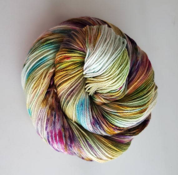 Practically Magic- 100% Organic Cotton, Hand Dyed, Fingering Weight, Speckled, Ombre, Rainbow