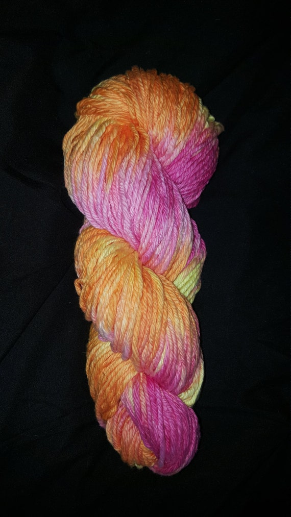 "Cotton Candy- ""Coney Island Collection"" 100 Organic Cotton Yarn, Hand Dyed Pink Orange Yellow"