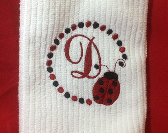 Embroidered Personialzed Letter ladybug kitchen towel