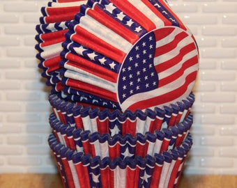 American Flag Cupcake Liners Muffin Cup NEW Cupcake Liners 32 RedWhiteBlue Cupcake Liner Baking Cups Americana Flag Cupcake Liners
