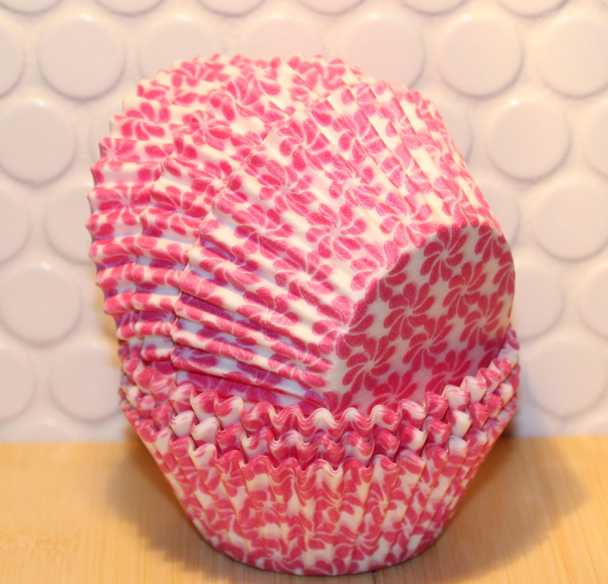 Pink Flower Cupcake Liners 45 Pink Cupcake Liners Pink Etsy