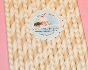 New - Ivory Stripe & Chevron Straws - DIY Flag Toppers  (Qty 24)  Straws, Paper Straws, Striped Straws, Chevron Straws, Drinking Straws