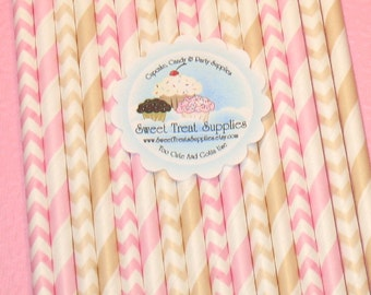 NEW - Ivory & Pink Striped and Chevron Straws - DIY Flag Toppers  (Qty 24)  Straws, Paper Straws, Retro Straws, Pink Straws, Drinking Straws