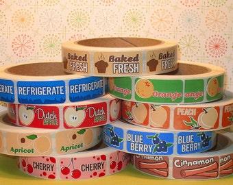 U Choose Flavor Labels - Small Rectangular Only (Qty 36) Flavor Labels, Fruit Flavor Labels, Cinnamon Flavor Labels, Baked Fresh Labels