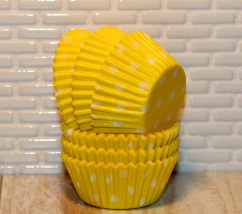 Mini Yellow Polka Dot Baking Cups Qty 50 Mini Yellow Polka Dot Cupcake Liners Mini Yellow Polka Dot Muffin Cups Mini Cupcake Liners