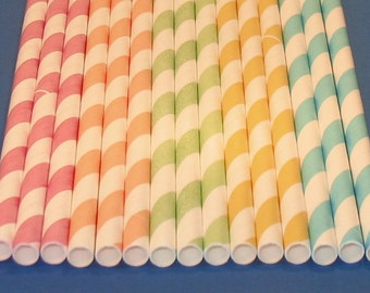 Pastel Stripe Paper Straws with DIY Flag Toppers  (25)