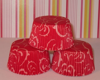 Red Swirlies Cupcake Liners   (Qty 40)