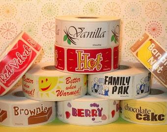 U Choose Flavor Labels - Large Rectangular - You Choose  (Qty 36) Flavor Labels, Vanilla Labels, Peanut Butter Labels, Red Velvet Labels