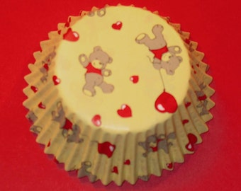 Teddy Bear and Hearts Cupcake Liners   (Qty 40)
