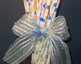 Funfetti Confetti Dots Paper Straws with DIY Flag Toppers  (25)
