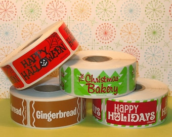 U Choose Holiday Bakery Labels (ONLY) - You Choose  (Qty 36) Holiday Labels, Labels