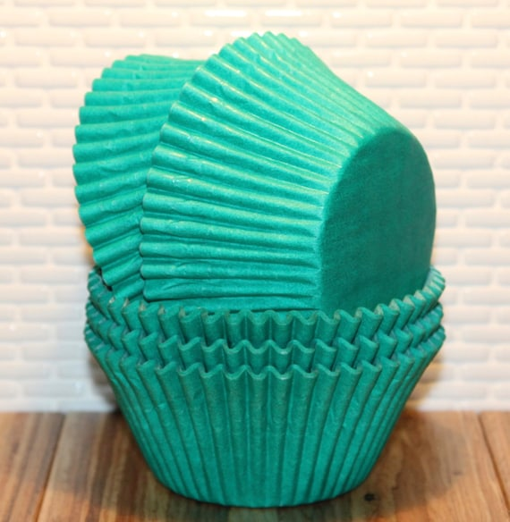party turquoise baking cup turquoise and white baking cups Greaseproof baking cups baby shower bridal 25 qty