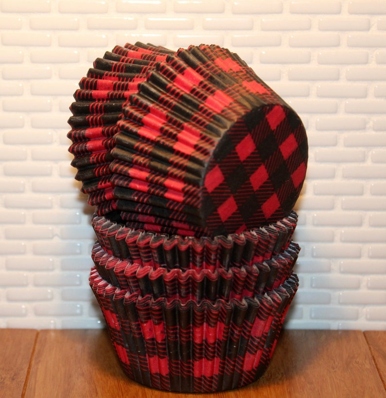 Red /& Black Buffalo Check Heavy Duty Cupcake Liners Red Buffalo Plaid Cupcake Liners Red Buffalo Check Cupcake Liners NEW Qty 32