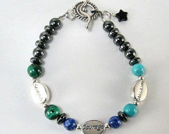 Serenity prayer message bracelet - Serenity, Courage, Wisdom - sterling silver - chakra energy, crystal energy, spirituality